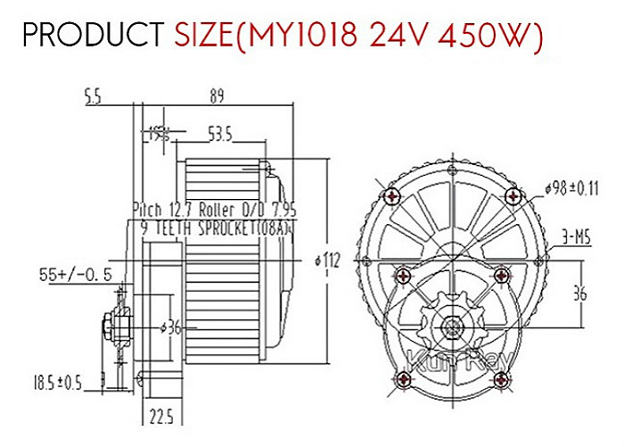 high torque 450w electric scooter dc motor with gear  24v